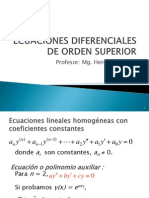 Ecuaciones Diferenciales Orden Superior Coeficientes Indeterminados