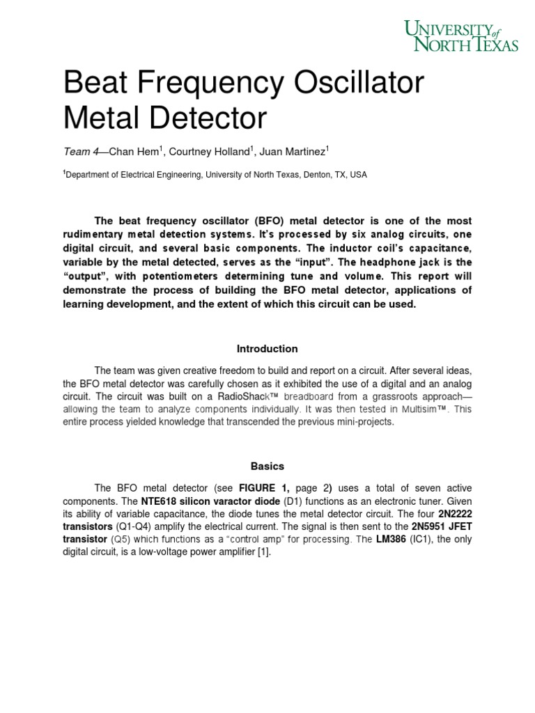 Beat Frequency Oscillator Metal Detectorpdf Detector Radio How To Build A Circuit Inductor