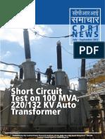 Sahort Circuit Test of 100mva Tr.