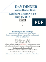 Leesburg Dinner Menu July 2013