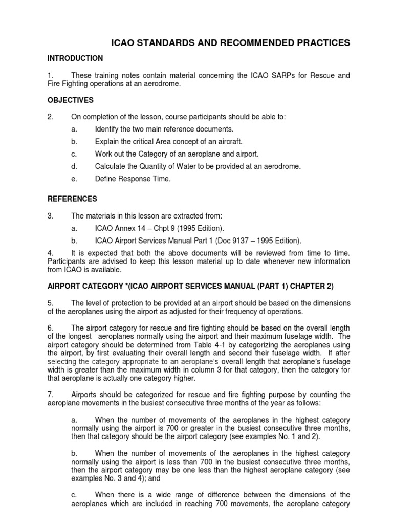 Icao Standards & Recommended Practices | Emergency Management | Firefighting