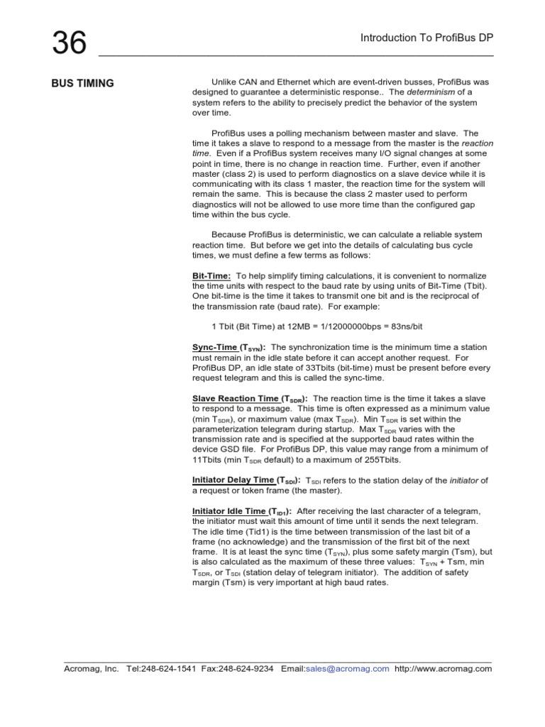 Profibus Cycletime Parameters   Bit Rate   Computer Hardware