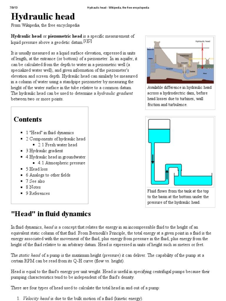 Hydraulic Head - Wikipedia, The Free Encyclopedia | Gases | Fluid
