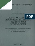 AMONITI IZ SLOJEVA SA ASPIDOCERAS ACANTHICUM STARE PLANINE(ISTOCNA SRBIJA) - M. Andelkovic, 1966