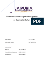 Human Resource Management Assignment on Organization Culture
