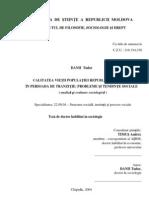 Calitatea Vietii Populatiei Republicii Moldova in Perioada de Tranzitie Probleme Si Tendinte Sociale [PDF]