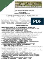 APRIL TO JUNE 2013 NEWSLETTER OF NEW RELEASE DVDS - WORLDONLINECINEMA.COM