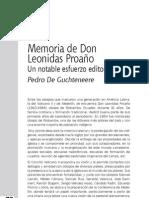 Memoria de Don Leonidas Proaño Un notable esfuerzo editorial