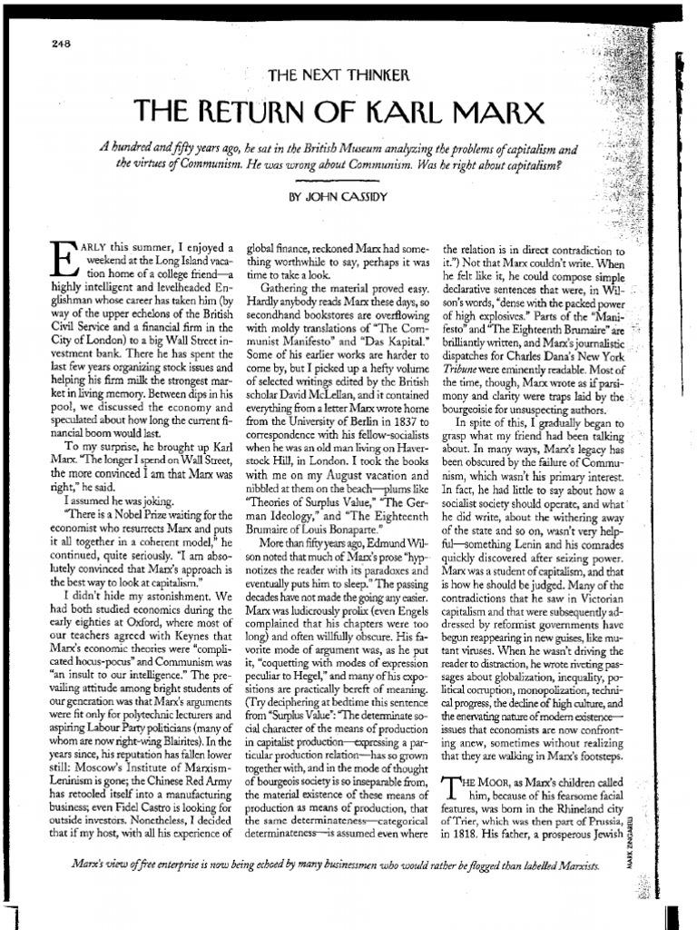 the return of karl marx a new yorker essay
