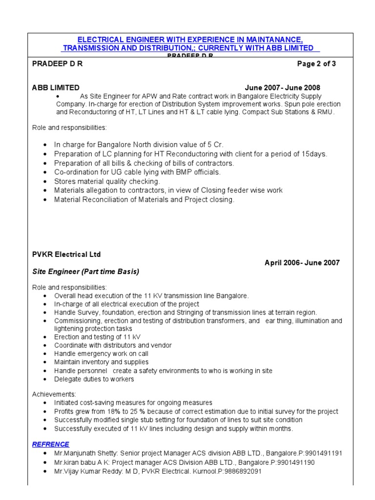 sample resume for experienced electrical engineer