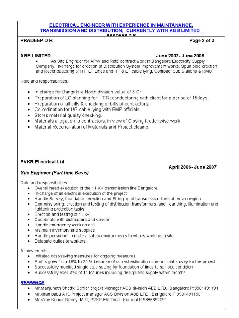 resume electrical engineer
