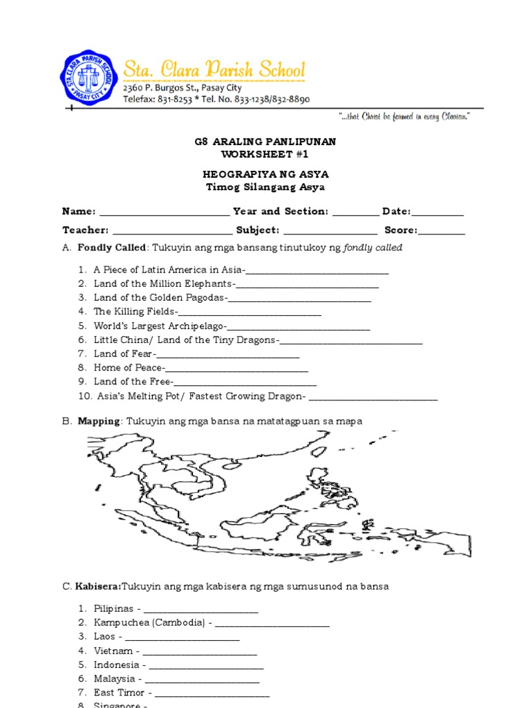 Worksheet- Araling Panlipunan G8