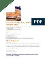 Patê de queijo feta, azeitona e tomate seco