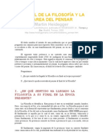 EL FINAL DE LA FILOSOFÍA Y LA TAREA DEL PENSAR:)