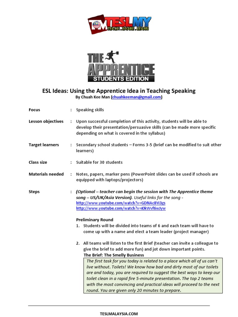 Gmail marker theme - Esl Ideas Using The Apprentice Idea In Teaching Speaking Lesson Plan English As A Second Or Foreign Language