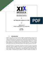 MEMORANDUM on the Malaysian Sedition Act 1948