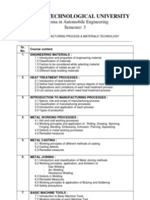 MANUFACTURING PROCESS & MATERIALS TECHNOLOGY pdf