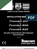 Texecom INS159-9 (Premier 412, 816 & 832 Installation Manual)
