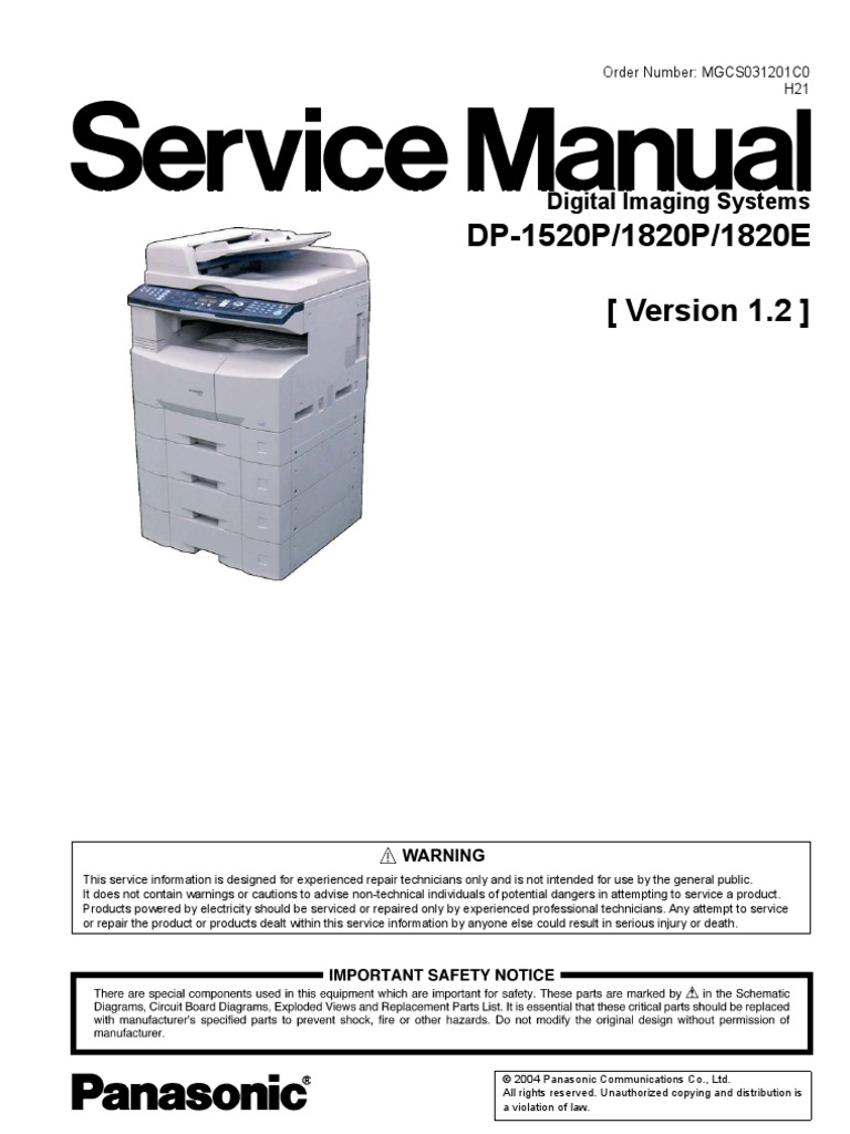 Panasonic dp-1520 p service manual – manuals library for free.