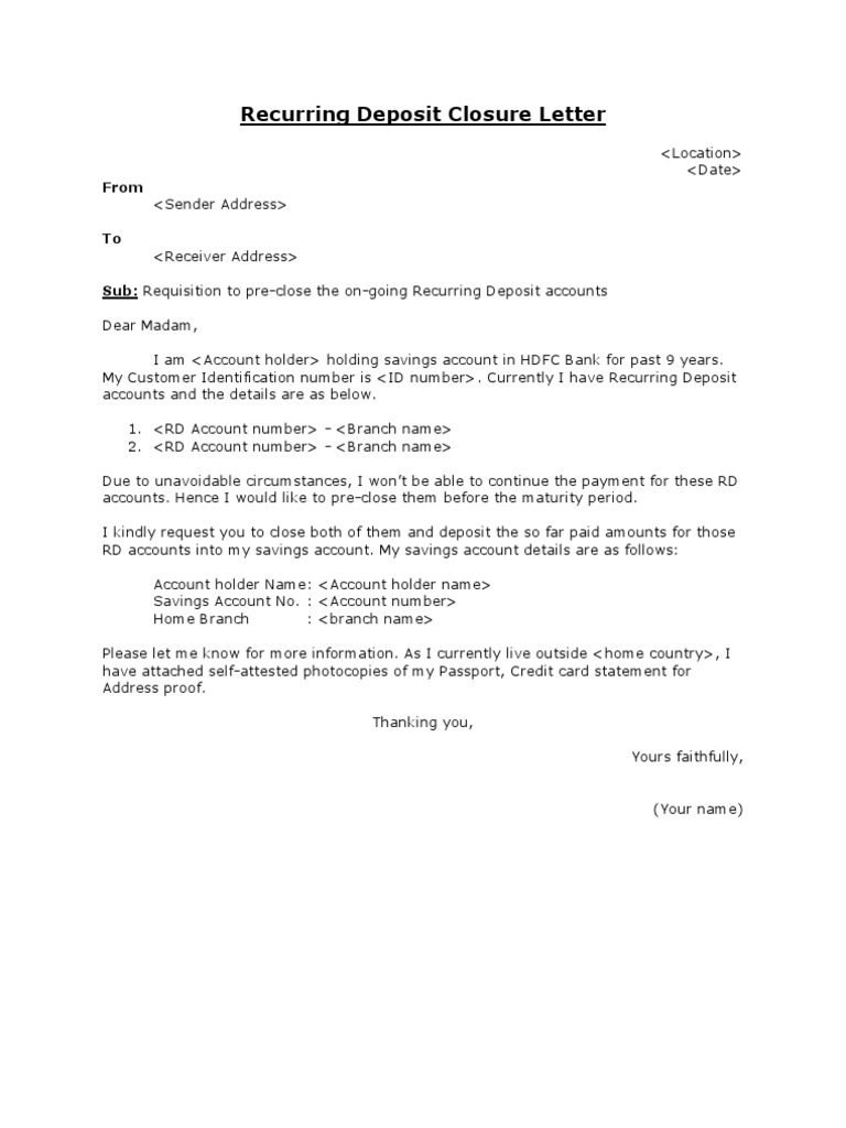 request letter for closing current account recurring deposit closure letter 28