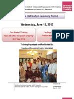 Certificate Distribution Ceremony Report , June,2013