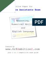 Insurance Assistants Practice Paper - Gr8AmbitionZ