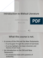 Introduction to the Course on Biblical Literature