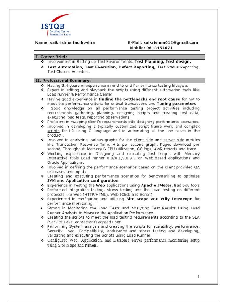 Performance Testing Resume | Web Application | Java Server Pages