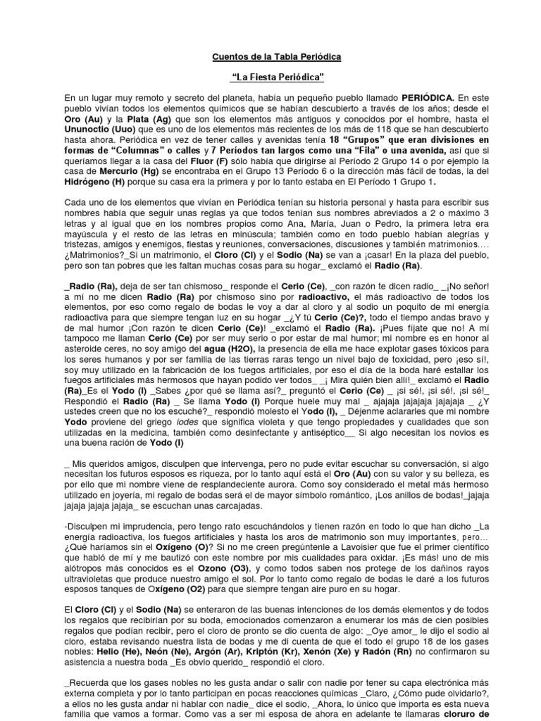 cuentos de tabla periodica - Tabla Periodica De Los Elementos Quimicos Por Familias