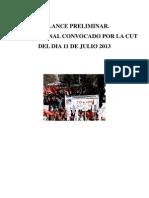 Balance Nacional Del Paro Cut 11 de Julio