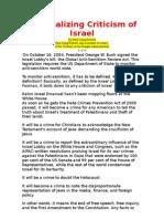 Criminalizing Criticism of Israel