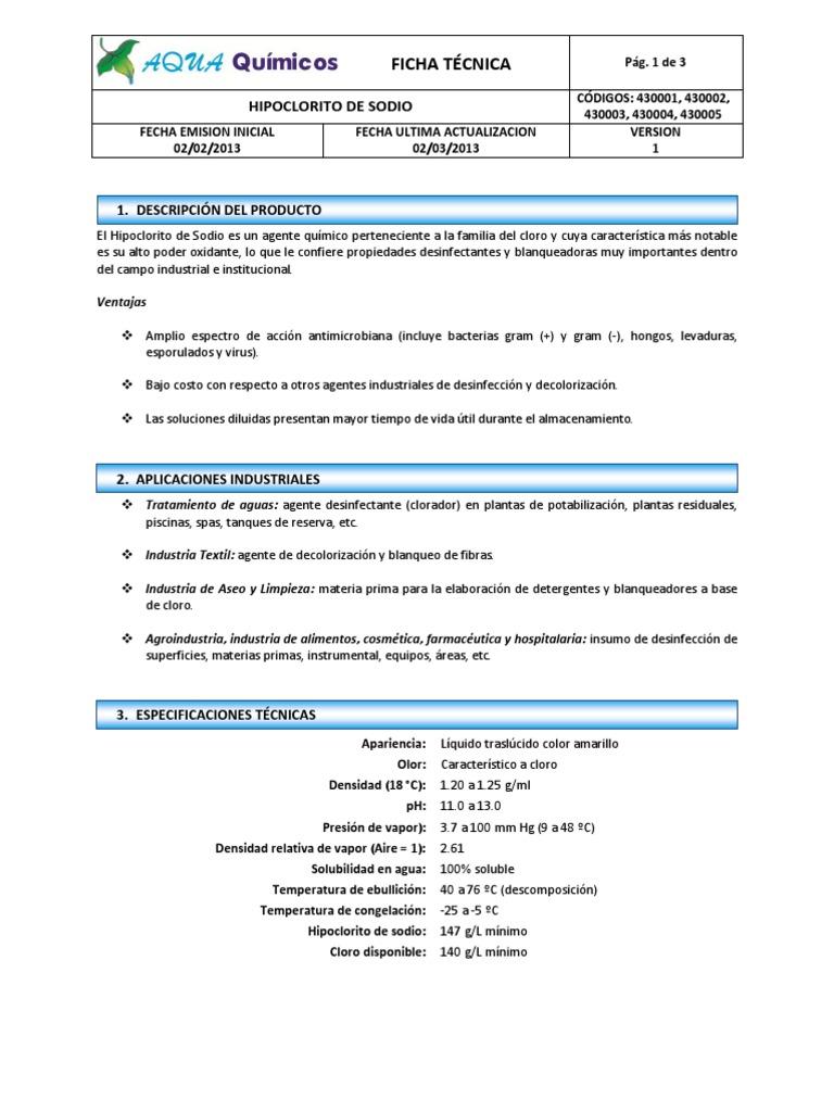 Ficha T 233 Cnica Hipoclorito De Sodio Docx