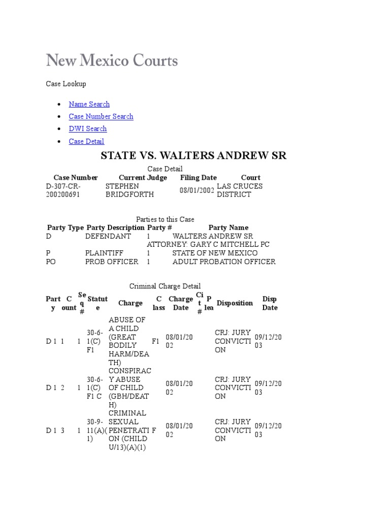 New Mexico V Andrew Walters Court Records