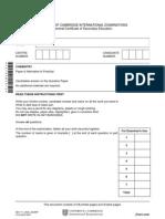 igcse  chemistry past question -winter 07-paper 6