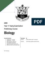 11 Bio Yrly Exam 09 Questions
