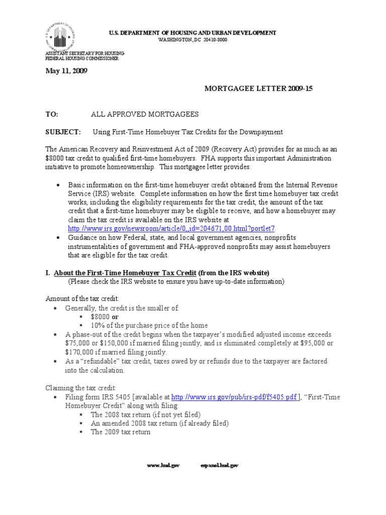 FHA Tax Credit | Internal Revenue Service | Tax Return (United States)