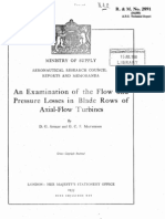 An Examination of the Flow and Pressure Losses in Blade Rows of Axial-Flow Turbines