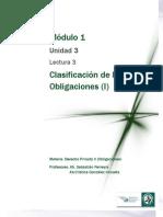 Lectura 3 -Clasificación de las Obligaciones. Principales y Accesorias. Civiles y Naturales. Simples y Modales