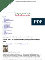 LE QUOTIDIEN D'ALGERIE » Algérie 2012 _ un régime de vieillards sanguinaires en fin de règne