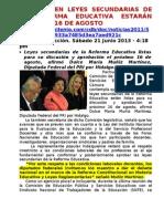 AVANCES EN LEYES SECUNDARIAS DE LA REFORMA EDUCATIVA ESTARÁN LISTAS EL 16 DE AGOSTO, DIPUTADA DEL PRI