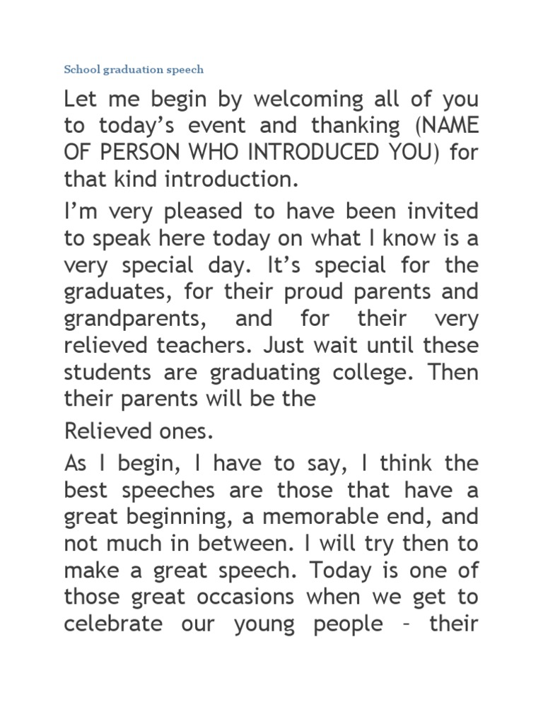 Graduation Speech Example Template