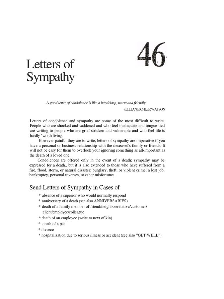 Letters of Sympathy   Sympathy   Grief