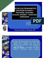 Presentación Espectro Electromagnético, Concesión de Radio y Televisión, Telefonía Celular, Internet y Servicios Agregados