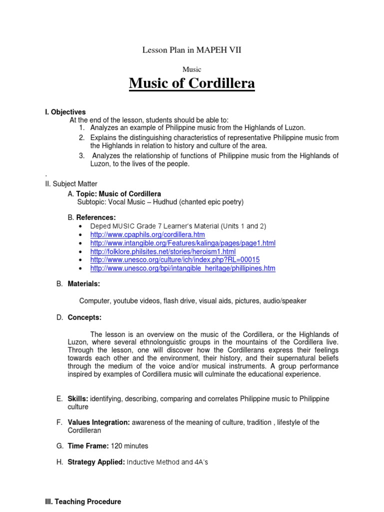 Lesson Plan In MAPEH VII Musical Instruments Pop Culture   History Lesson  Plan Template