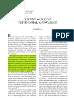 "Greco, John (2012)—""Recent Work on Testimonial Knowledge"""