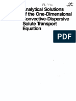 Analytical Solutions of the One Dimensional Convective-Dispersive Solute Equation