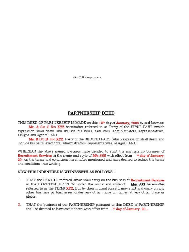 Sample partnership deed partnership business law altavistaventures Gallery