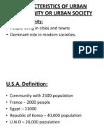 Characteristics of Urban Community or Urban Society