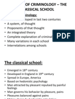 SCHOOLS OF CRIMINOLOGY – THE CLASSICAL SCHOOL
