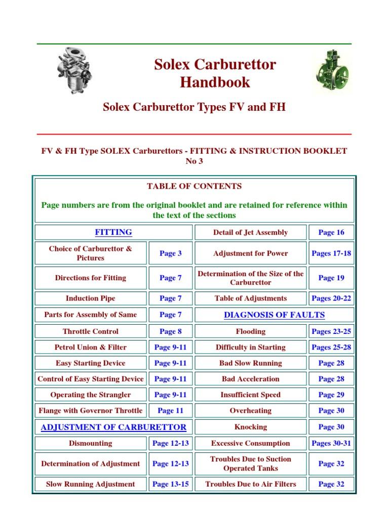 Solex Carburettor Handbook | Carburetor | Throttle